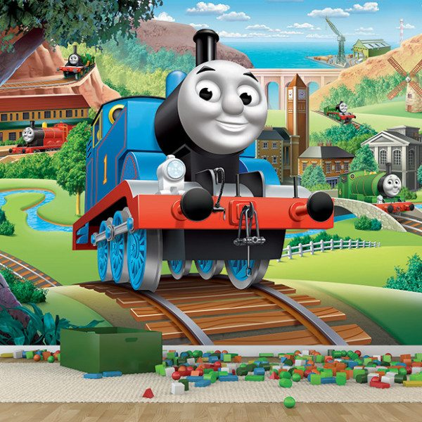 engine licensed wall door murals thomas friends full wall mural. Black Bedroom Furniture Sets. Home Design Ideas