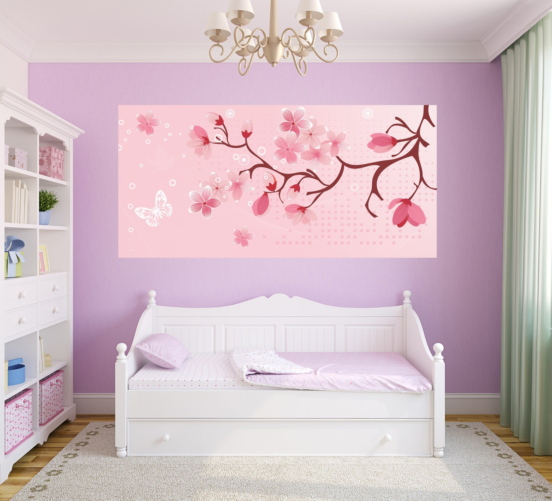 Cherry blossom half wall murals jasabyn for Cherry blossom mural on walls