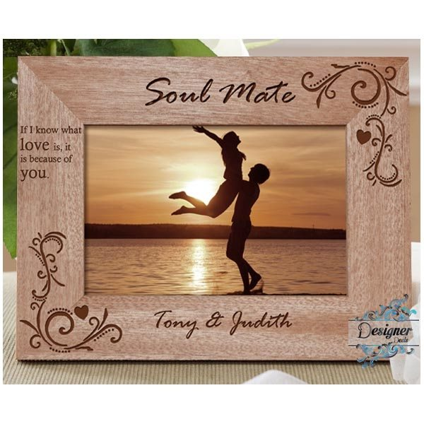 Because Of You Personalised Wooden Photo Frame Jasabyn