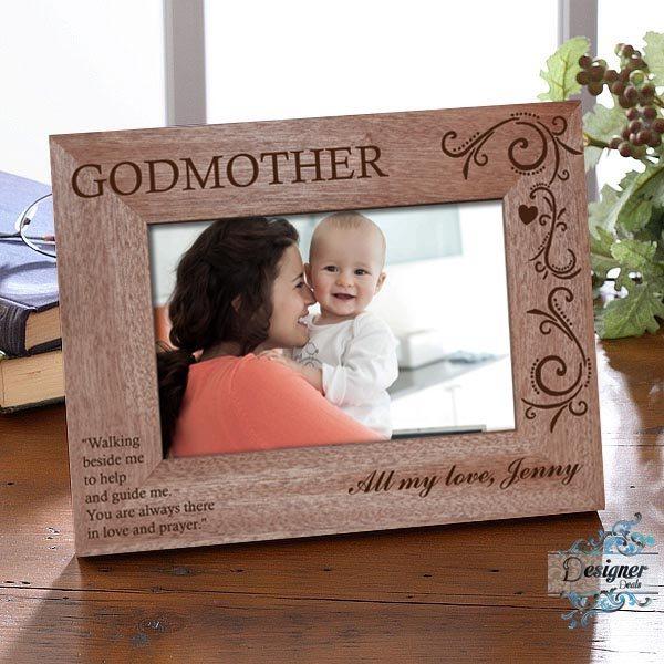 Godparent Personalised Wooden Photo Frame Jasabyn